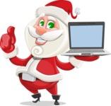 Small Santa Vector Cartoon Character - With a Computer