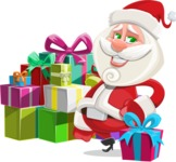 Small Santa Vector Cartoon Character - With a Lot of Presents