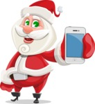 Small Santa Vector Cartoon Character - With a Mobile Phone