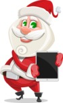Small Santa Vector Cartoon Character - With a Tablet