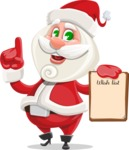 Small Santa Vector Cartoon Character - With a Wish List