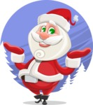 Small Santa Vector Cartoon Character - With Beautiful Snow Background Concept