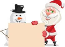 Small Santa Vector Cartoon Character - With Blank Sign on Christmas Theme