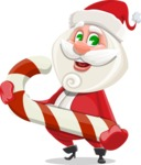 Small Santa Vector Cartoon Character - With Candy Cane