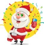 Small Santa Vector Cartoon Character - With Celebrating Background with Confetti