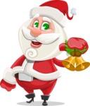 Small Santa Vector Cartoon Character - With Christmas Decoration - Christmas Bells