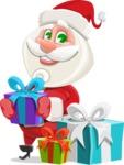 Small Santa Vector Cartoon Character - With Christmas Gifts