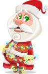Small Santa Vector Cartoon Character - With Christmas Lights