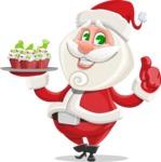 Small Santa Vector Cartoon Character - With Christmas Muffins