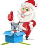 Small Santa Vector Cartoon Character - With Christmas Puppy as a Present