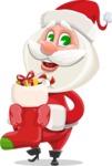Small Santa Vector Cartoon Character - With Christmas Sock