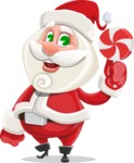Small Santa Vector Cartoon Character - With Christmas Sweet - Lollipop