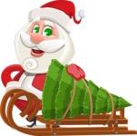 Small Santa Vector Cartoon Character - With Christmas Tree on a Sleigh