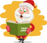 Small Santa Vector Cartoon Character - With Colorful Background Illustration