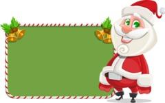 Small Santa Vector Cartoon Character - With Cool Christmas Board