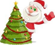 Small Santa Vector Cartoon Character - With Cool Christmas Tree