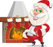 Small Santa Vector Cartoon Character - With Decorated Fireplace