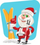 Small Santa Vector Cartoon Character - With Flat Background Illustration
