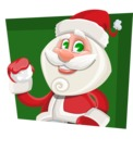 Small Santa Vector Cartoon Character - With Flat Shape Background