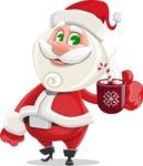 Small Santa Vector Cartoon Character - With Hot Choco Mug
