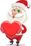 Small Santa Vector Cartoon Character - With Love Heart