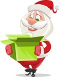 Small Santa Vector Cartoon Character - With Open Christmas Present
