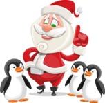 Small Santa Vector Cartoon Character - With Penguins
