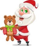 Small Santa Vector Cartoon Character - With Plush Bear Gift