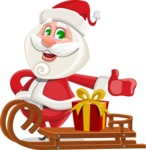 Small Santa Vector Cartoon Character - With Present on a Sleigh