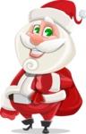Small Santa Vector Cartoon Character - With Sack full of Christmas Presents