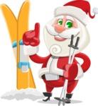Small Santa Vector Cartoon Character - With Ski