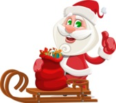 Small Santa Vector Cartoon Character - With Sleigh and Sack with Gifts