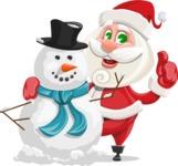 Small Santa Vector Cartoon Character - With Snowman