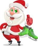 Small Santa Vector Cartoon Character - With Winter Skates