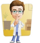 Physician Cartoon Vector Character AKA Dr 'Handsome' Steven - Shape 6