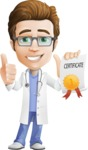Physician Cartoon Vector Character AKA Dr 'Handsome' Steven - Ribbon