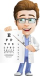 Physician Cartoon Vector Character AKA Dr 'Handsome' Steven - Eye Chart