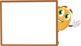 Cartoon Coin Vector Character - Presenting on Blank Whiteboard Template