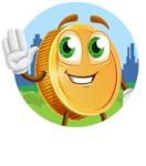 Cartoon Coin Vector Character - Sticker Template