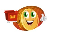 Cartoon Coin Vector Character - Save Big Shoping Sale Illustration Concept