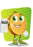 Cartoon Coin Vector Character - Calculating Savings Illustration