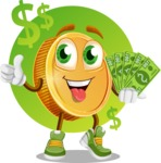 Cartoon Coin Vector Character - Holding a lot of Money Illustration