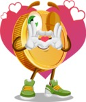 Cartoon Coin Vector Character - Love Money Illustration