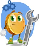 Cartoon Coin Vector Character - Fixing Issues Concept Illustration