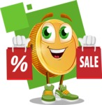 Cartoon Coin Vector Character - With Shopping Bags Sale Illustration