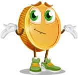 Cartoon Coin Vector Character - Feeling Sorry