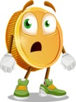 Cartoon Coin Vector Character - With Stunned Face