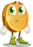 Cartoon Coin Vector Character - With Sad Face