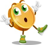 Cartoon Coin Vector Character - Feeling Shocked