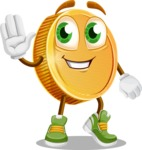 Cartoon Coin Vector Character - Waving for Hello with a Smiling Face